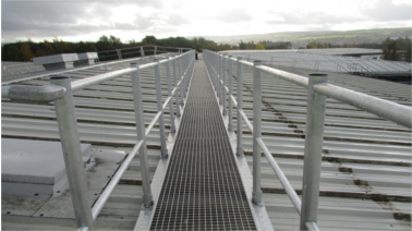Ascent aluminium roof walkway with handrail to metal profile roof