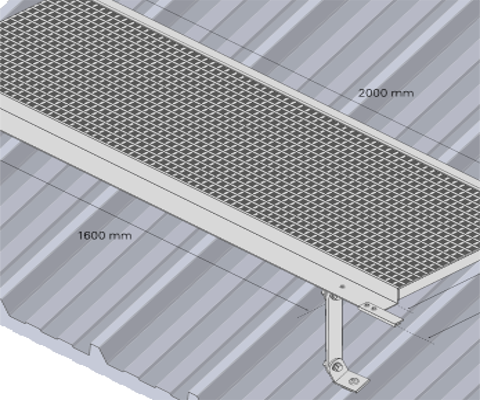 Ascent aluminium maintenance access roof walkway levelled to falls on metal profile composite roof